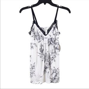 SOMA Cool Nights Floral Cami Top Black White XS